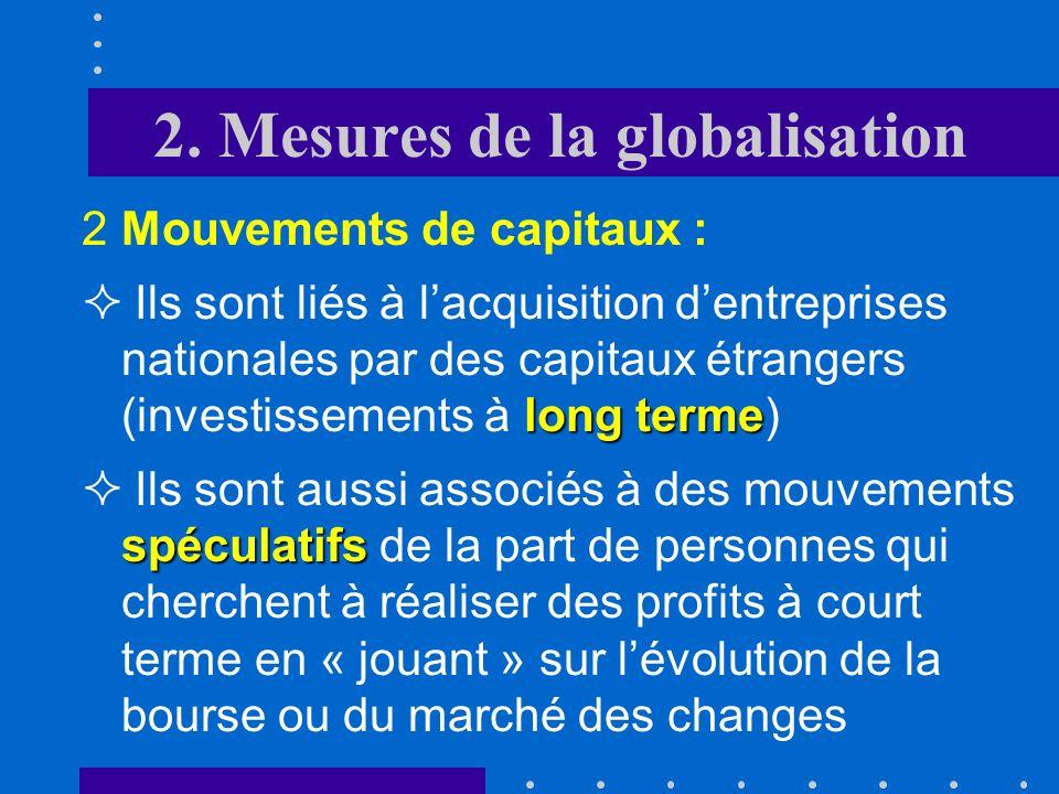 2. Mesures de la globalisation 1Echanges commerciaux : Un élément nouveau de cette évolution est lié à la part croissante des échanges de services Exe