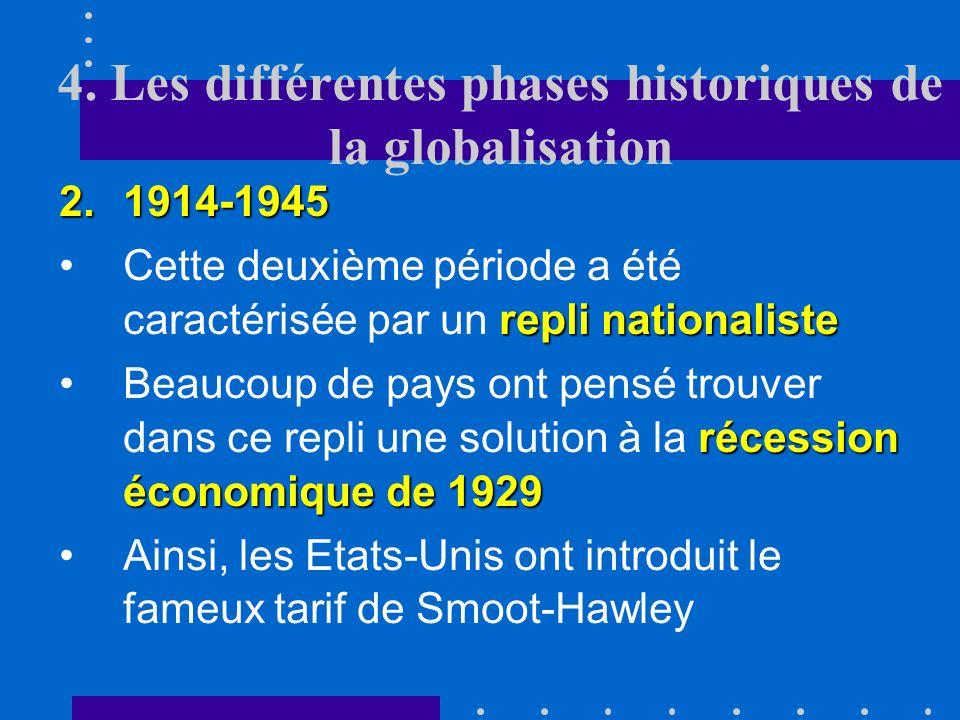 4. Les différentes phases historiques de la globalisation 1.1870-1914 mouvements migratoiresLa production de ces biens « primaires » a nécessité lappo