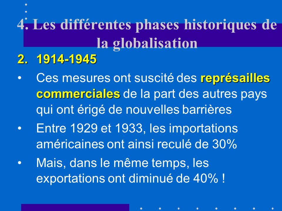 4. Les différentes phases historiques de la globalisation 2.1914-1945 repli nationalisteCette deuxième période a été caractérisée par un repli nationa