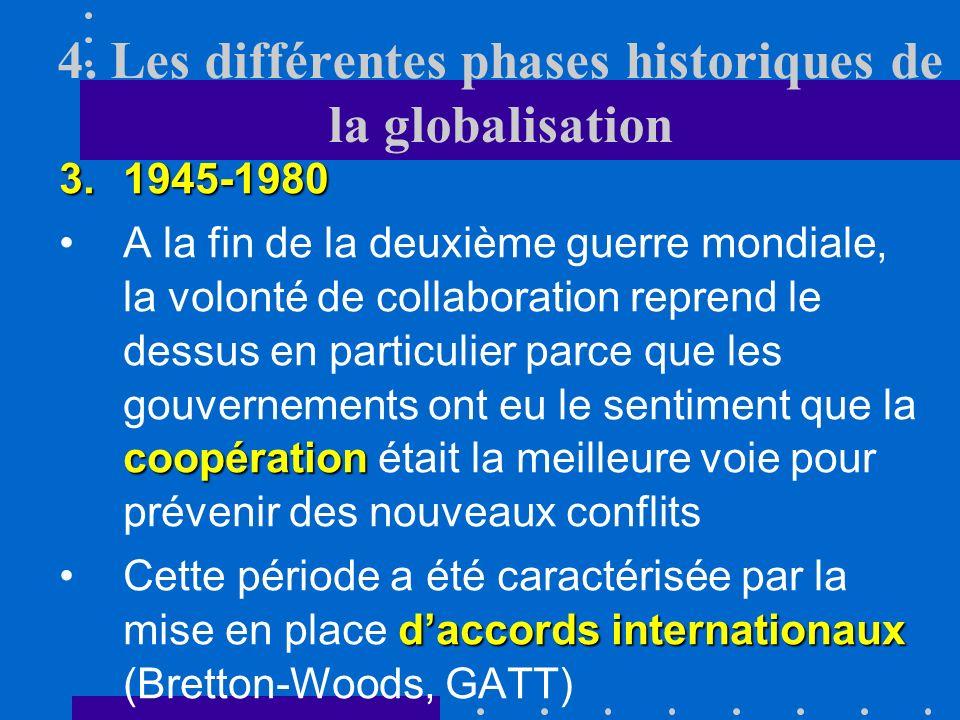 4. Les différentes phases historiques de la globalisation 2.1914-1945 représailles commercialesCes mesures ont suscité des représailles commerciales d