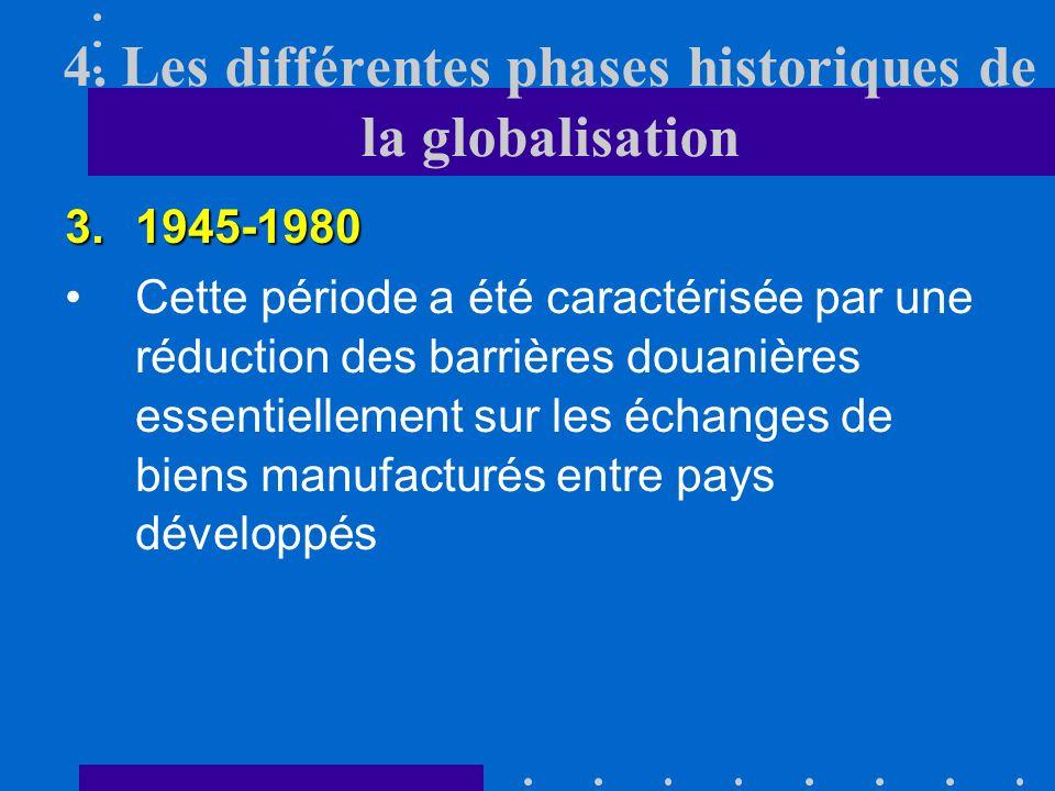 4. Les différentes phases historiques de la globalisation 3.1945-1980 coopérationA la fin de la deuxième guerre mondiale, la volonté de collaboration