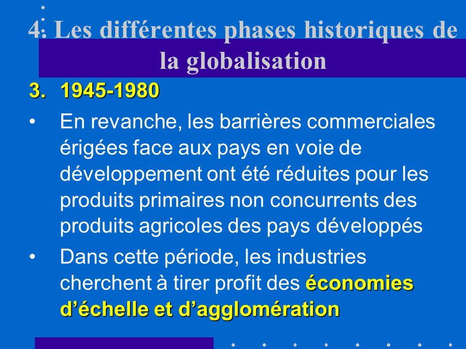 4. Les différentes phases historiques de la globalisation 3.1945-1980 Cette période a été caractérisée par une réduction des barrières douanières esse