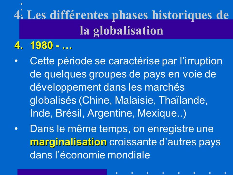 4. Les différentes phases historiques de la globalisation 3.1945-1980 En revanche, les barrières commerciales érigées face aux pays en voie de dévelop
