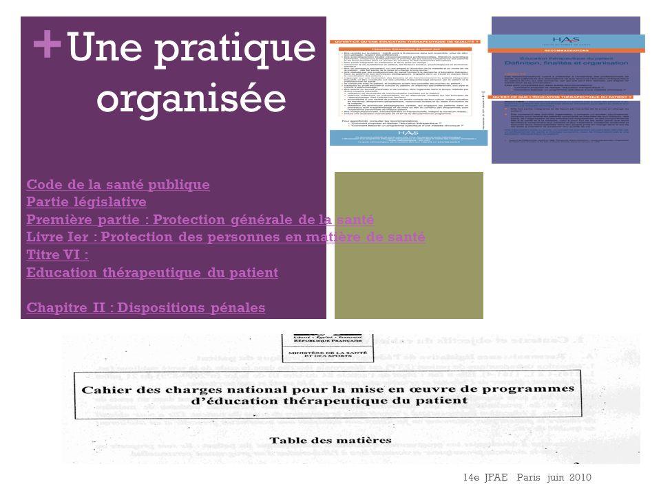 + 14e JFAE Paris juin 2010 Une pratique organisée Code de la santé publique Partie législative Première partie : Protection générale de la santé Livre