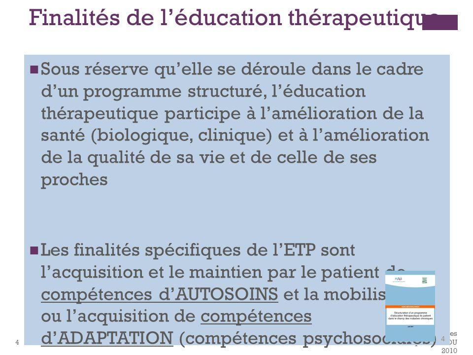 Reco HAS ETP Compétences autosoins adaptations DU 2010 4 Finalités de léducation thérapeutique Sous réserve quelle se déroule dans le cadre dun progra