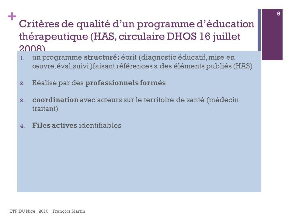 + Critères de qualité dun programme déducation thérapeutique (HAS, circulaire DHOS 16 juillet 2008) 1. un programme structuré: écrit (diagnostic éduca