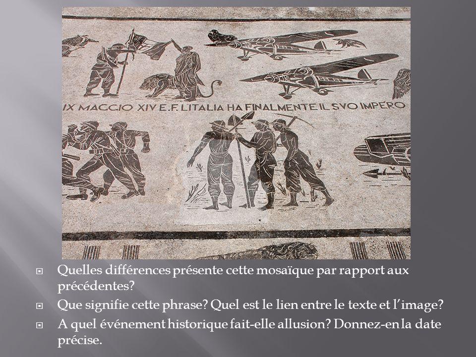 Quelles différences présente cette mosaïque par rapport aux précédentes? Que signifie cette phrase? Quel est le lien entre le texte et limage? A quel