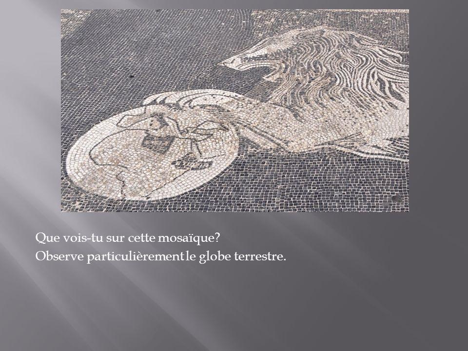 Que vois-tu sur cette mosaïque? Observe particulièrement le globe terrestre.