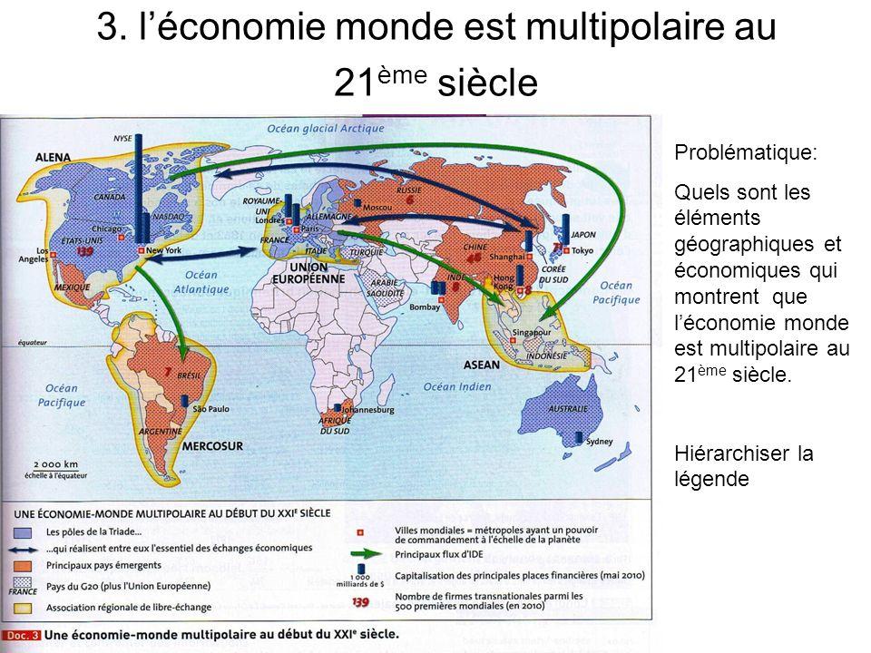 3. léconomie monde est multipolaire au 21 ème siècle Problématique: Quels sont les éléments géographiques et économiques qui montrent que léconomie mo