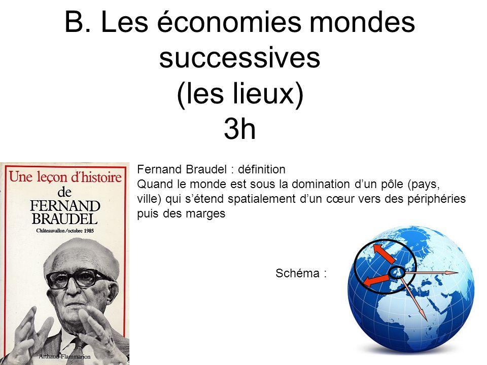 B. Les économies mondes successives (les lieux) 3h Fernand Braudel : définition Quand le monde est sous la domination dun pôle (pays, ville) qui séten
