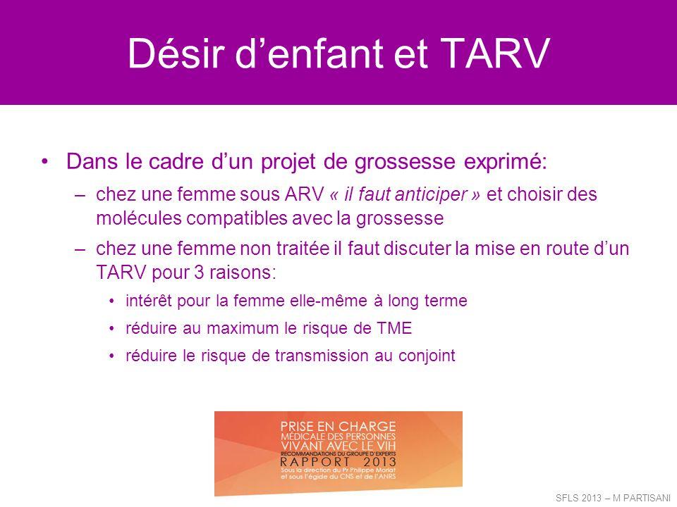 Désir denfant et TARV Dans le cadre dun projet de grossesse exprimé: –chez une femme sous ARV « il faut anticiper » et choisir des molécules compatibl