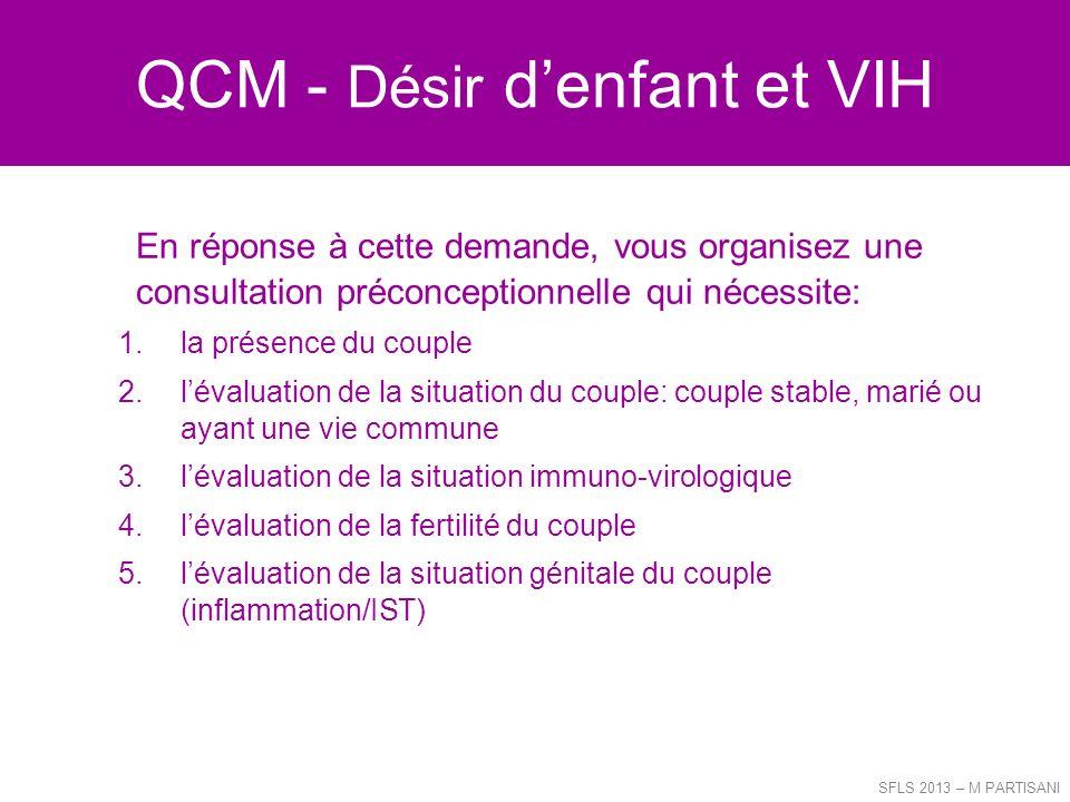 QCM - Désir denfant et VIH En réponse à cette demande, vous organisez une consultation préconceptionnelle qui nécessite: 1.la présence du couple 2.lév