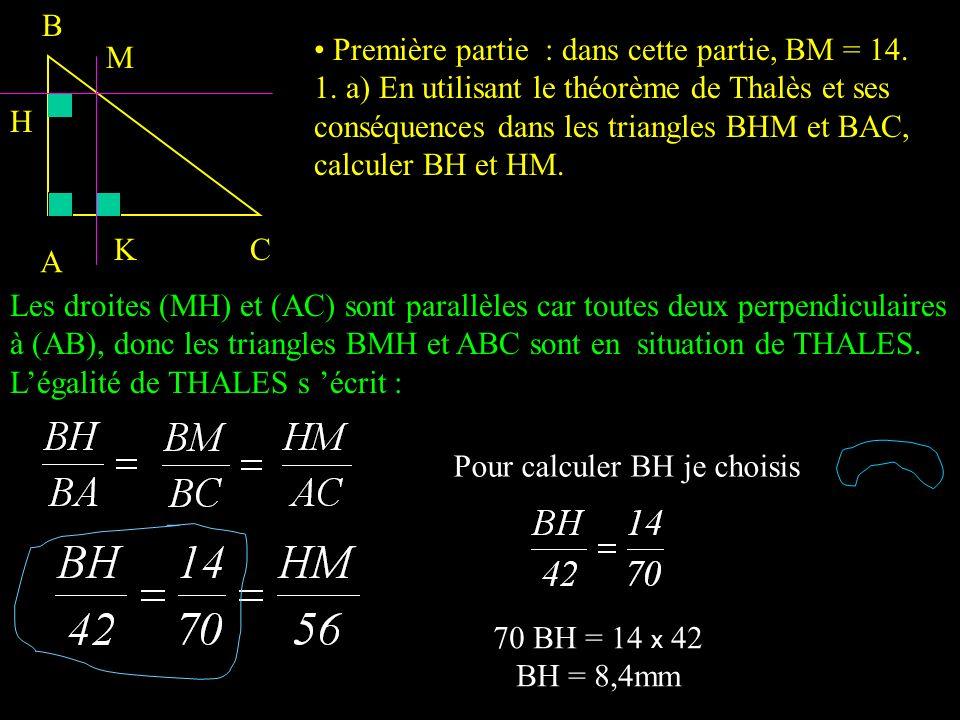A C B M. M est un point du segment [BC] distinct de B et C;. la perpendiculaire à la droite (AB) passant par M coupe le segment [AB] en H;. la perpend