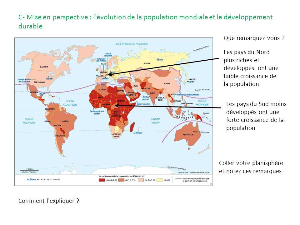 C- Mise en perspective : l évolution de la population mondiale et le développement durable Que remarquez vous .