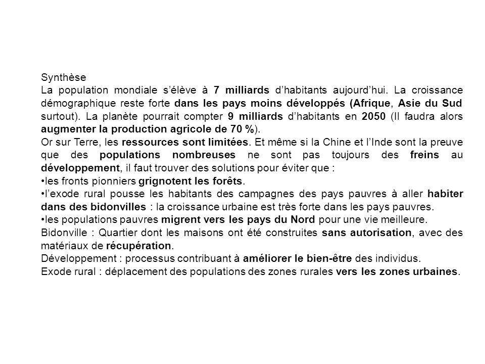 Synthèse La population mondiale sélève à 7 milliards dhabitants aujourdhui.