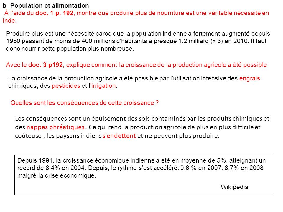 b- Population et alimentation À laide du doc.1 p.