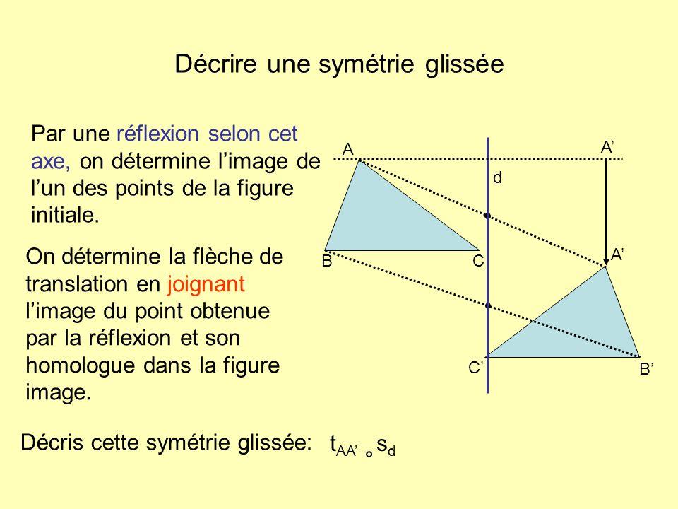 Décrire une symétrie glissée Décris cette symétrie glissée: Par une réflexion selon cet axe, on détermine limage de lun des points de la figure initia