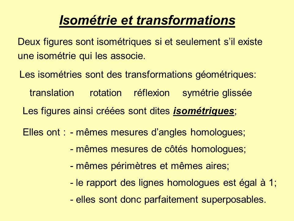 Isométrie et transformations Deux figures sont isométriques si et seulement sil existe une isométrie qui les associe. Les isométries sont des transfor