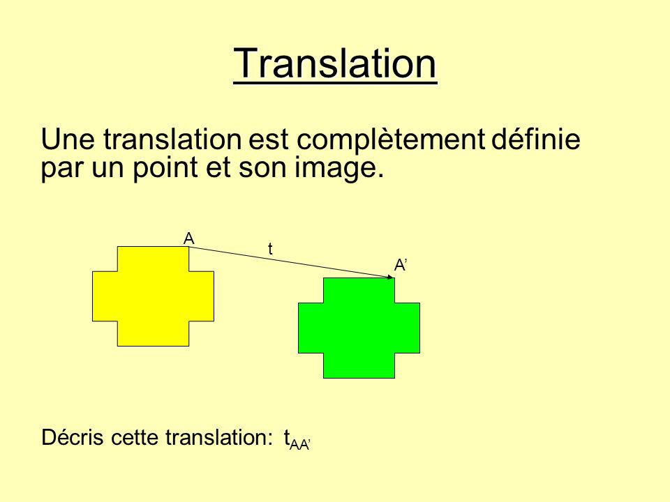 Translation Une translation est complètement définie par un point et son image. t A A Décris cette translation:t AA