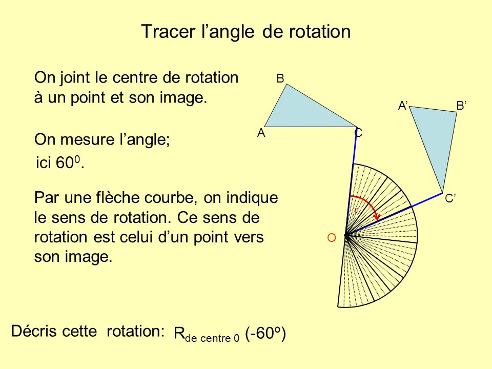 Tracer langle de rotation O r On joint le centre de rotation à un point et son image. A B C AB C On mesure langle; Par une flèche courbe, on indique l