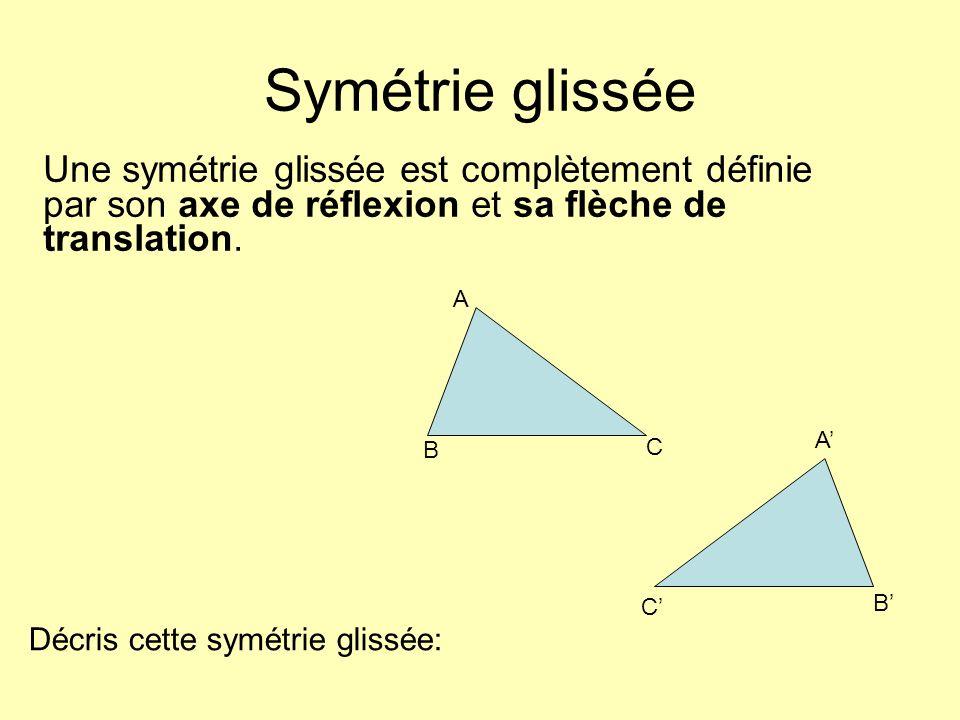Symétrie glissée Une symétrie glissée est complètement définie par son axe de réflexion et sa flèche de translation. A B C A C B Décris cette symétrie