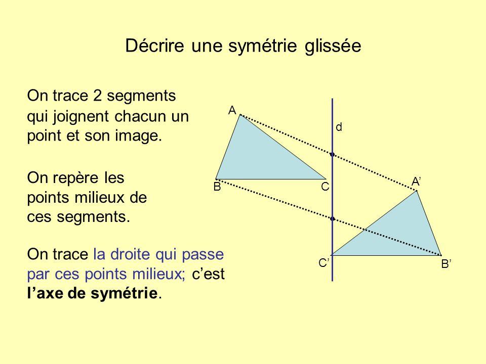 Décrire une symétrie glissée On trace la droite qui passe par ces points milieux; cest laxe de symétrie. On repère les points milieux de ces segments.