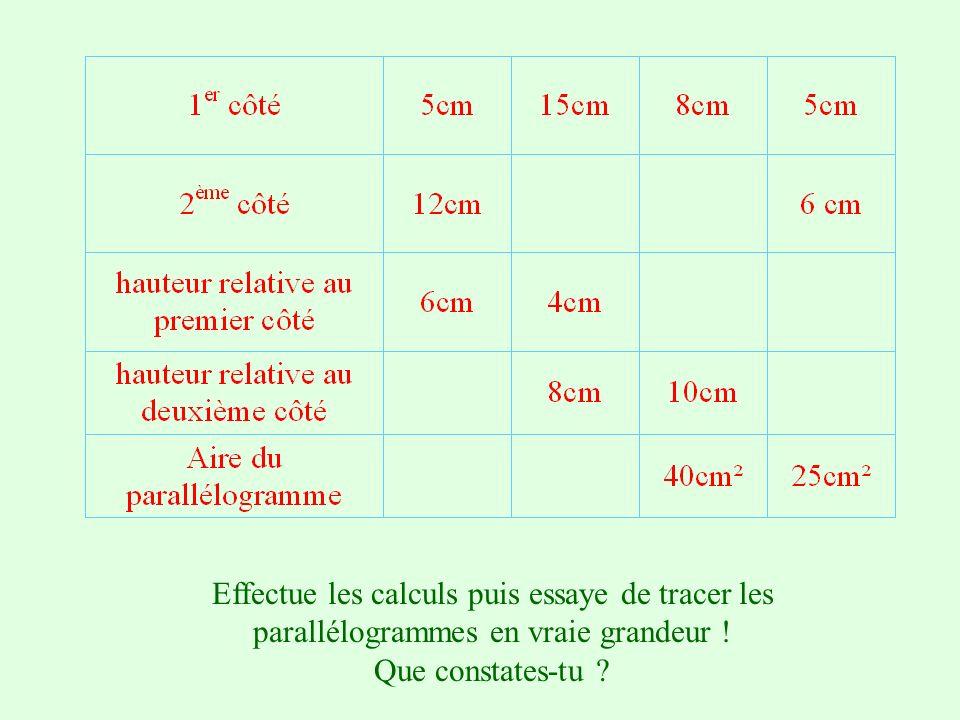Pour appliquer la formule, effectuons quelques calculs et vérifions. Touche 0 pour afficher b x h Touche 1 pour afficher b x h