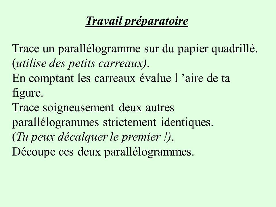 Travail préparatoire Trace un parallélogramme sur du papier quadrillé.