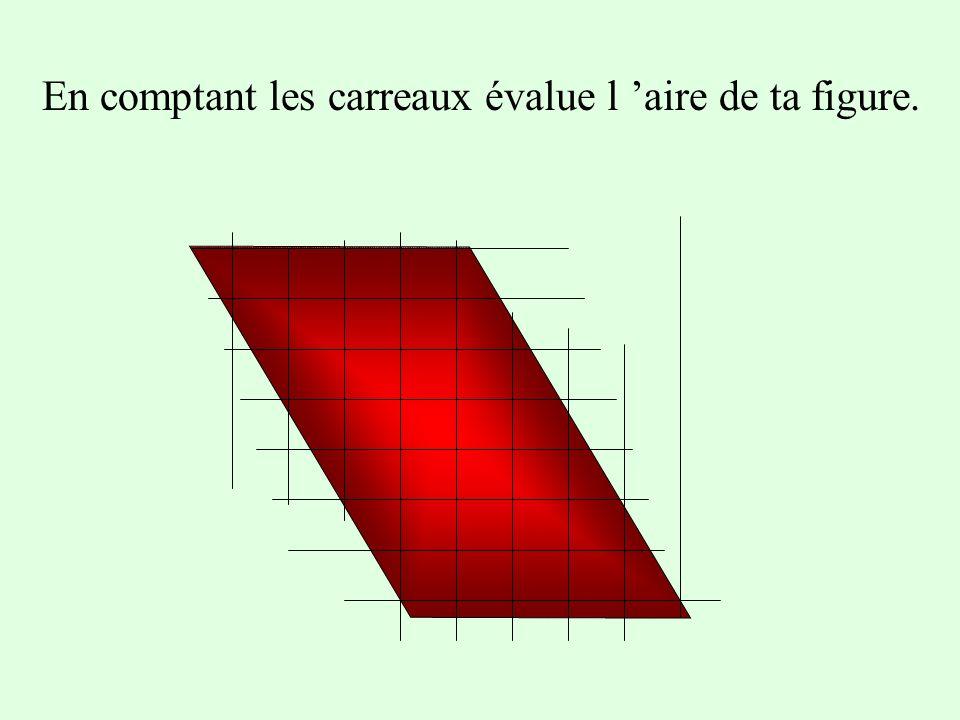 Travail préparatoire Trace un parallélogramme sur du papier quadrillé. (utilise des petits carreaux). En comptant les carreaux évalue l aire de ta fig