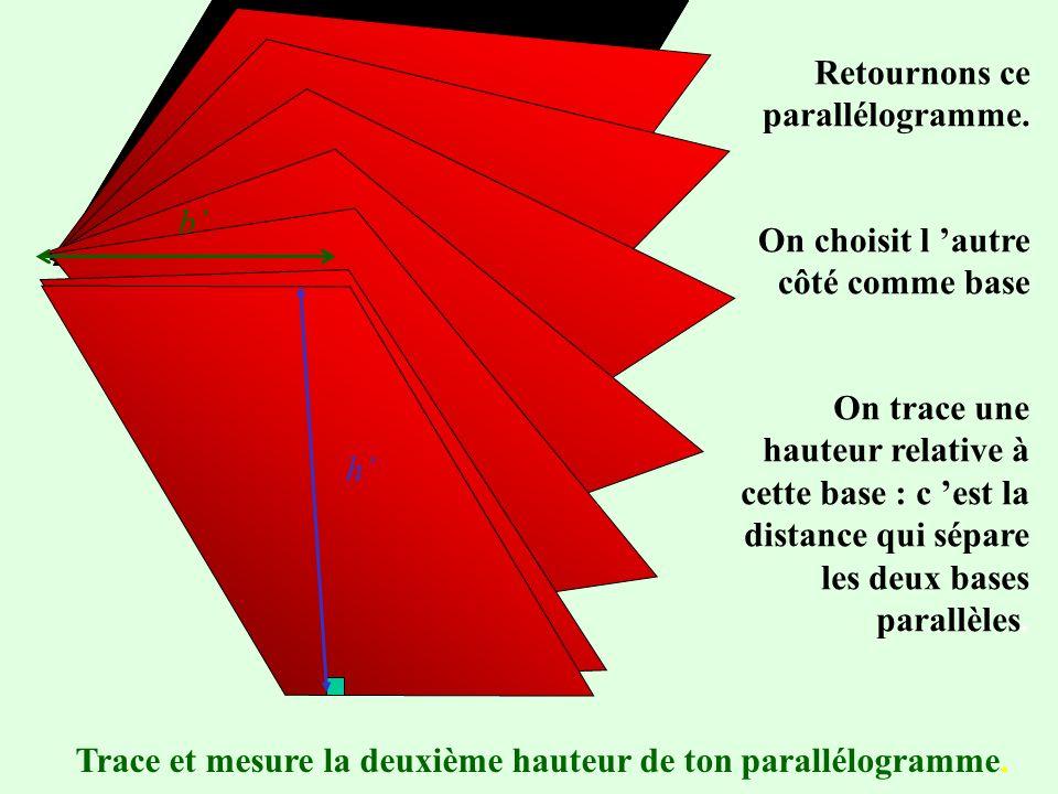 Un parallélogramme. Ce côté a été choisi comme base On choisit de tracer la hauteur relative à cette base qui passe par un sommet du parallélogramme.