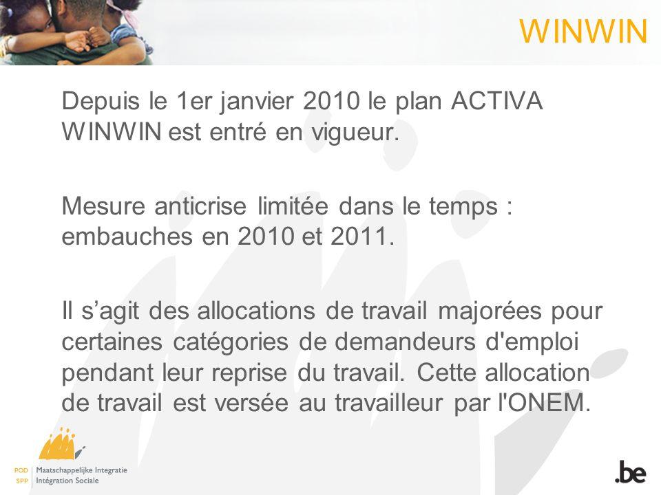 WINWIN Depuis le 1er janvier 2010 le plan ACTIVA WINWIN est entré en vigueur. Mesure anticrise limitée dans le temps : embauches en 2010 et 2011. Il s