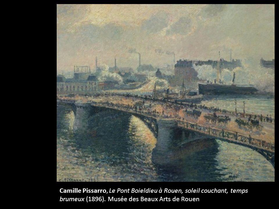 Fin Camille Pissarro, Le Pont Boieldieu à Rouen, soleil couchant, temps brumeux (1896).