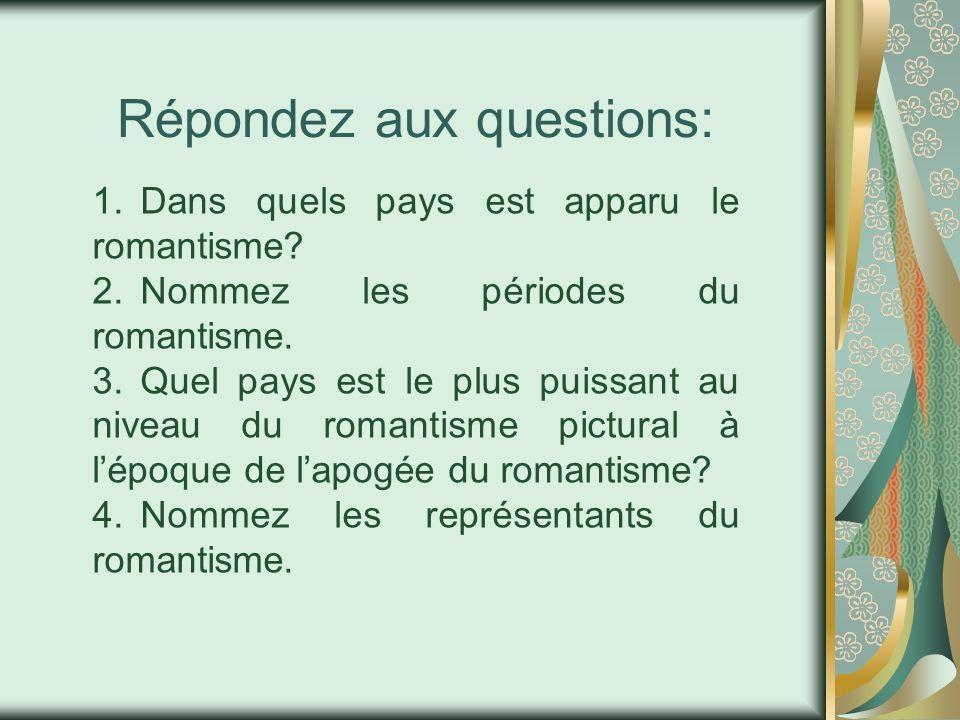 Répondez aux questions: 1.Dans quels pays est apparu le romantisme? 2.Nommez les périodes du romantisme. 3.Quel pays est le plus puissant au niveau du
