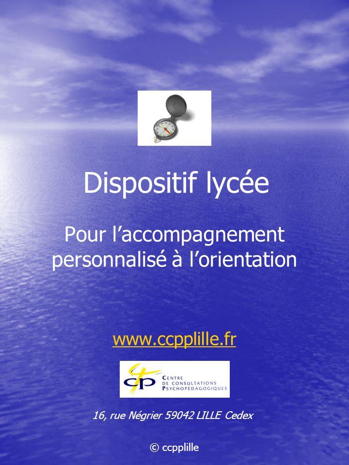 Dispositif lycée Pour laccompagnement personnalisé à lorientation www.ccpplille.fr 16, rue Négrier 59042 LILLE Cedex © ccpplille