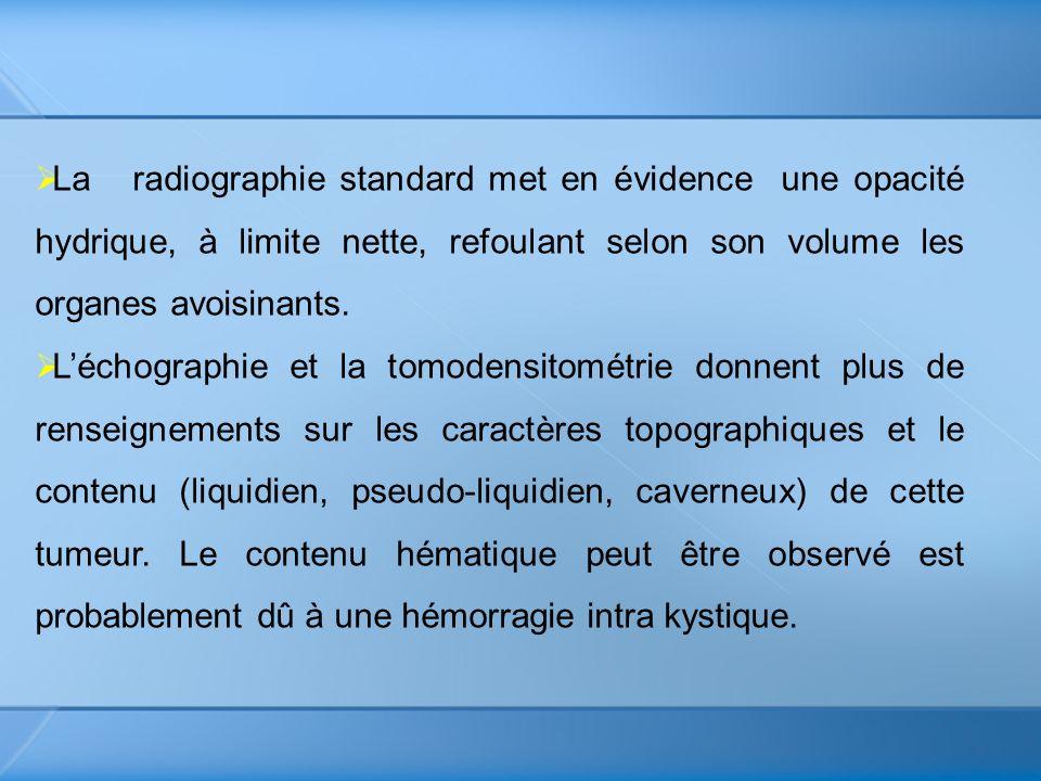 La radiographie standard met en évidence une opacité hydrique, à limite nette, refoulant selon son volume les organes avoisinants. Léchographie et la