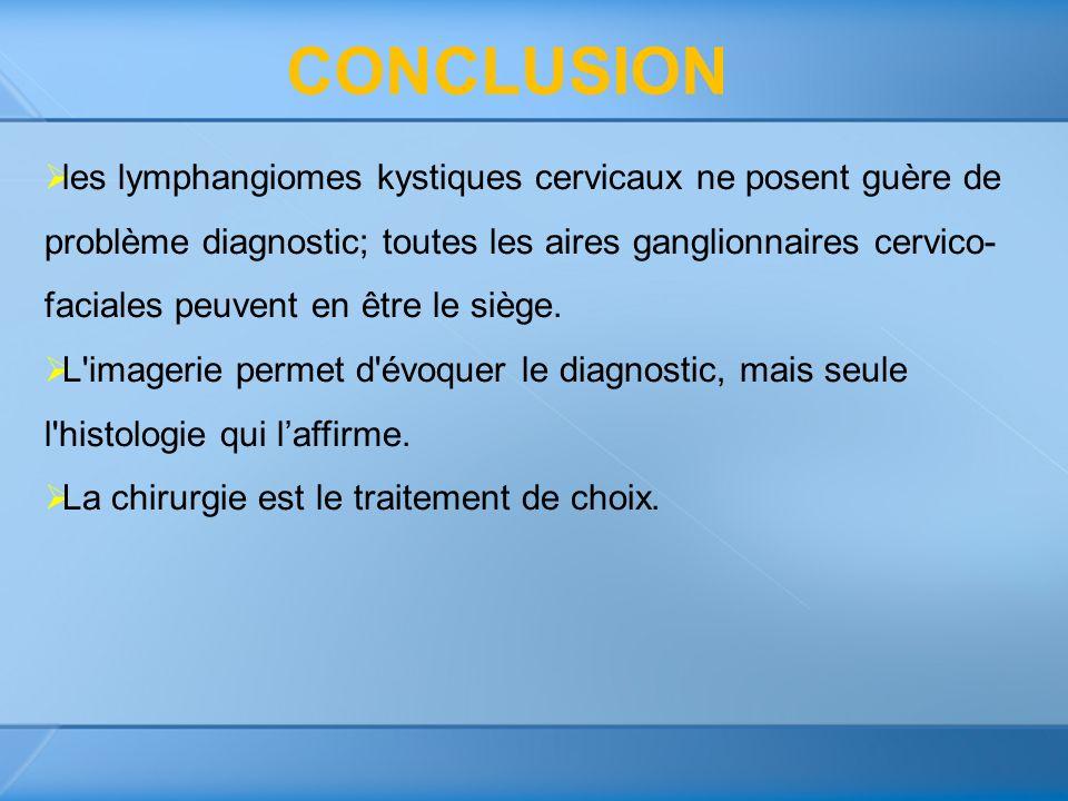 les lymphangiomes kystiques cervicaux ne posent guère de problème diagnostic; toutes les aires ganglionnaires cervico- faciales peuvent en être le siè