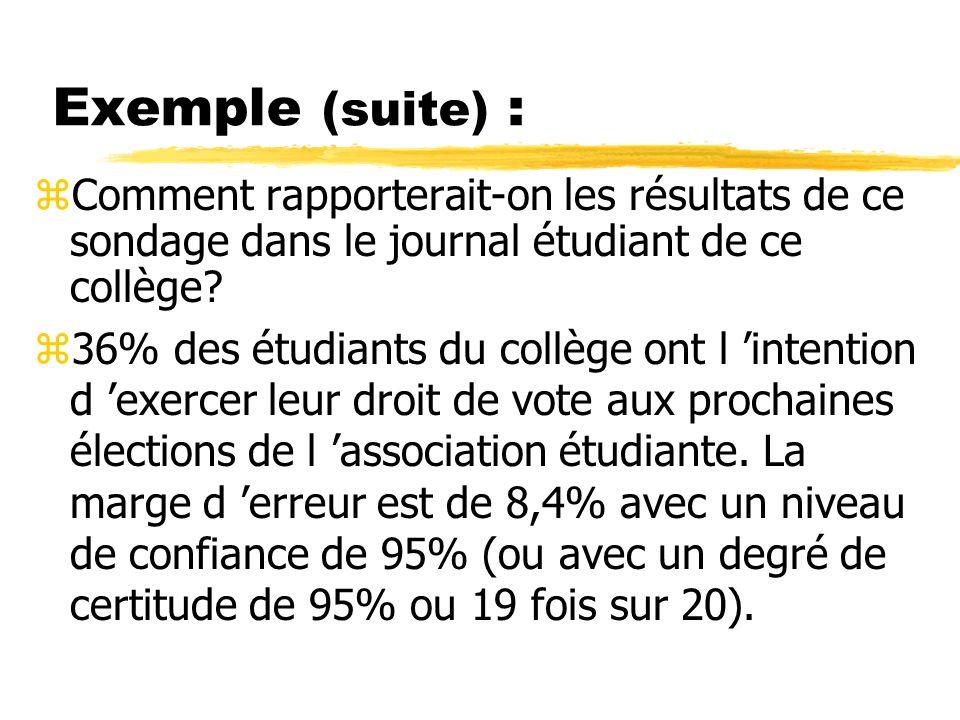 Exemple (suite) : zComment rapporterait-on les résultats de ce sondage dans le journal étudiant de ce collège.