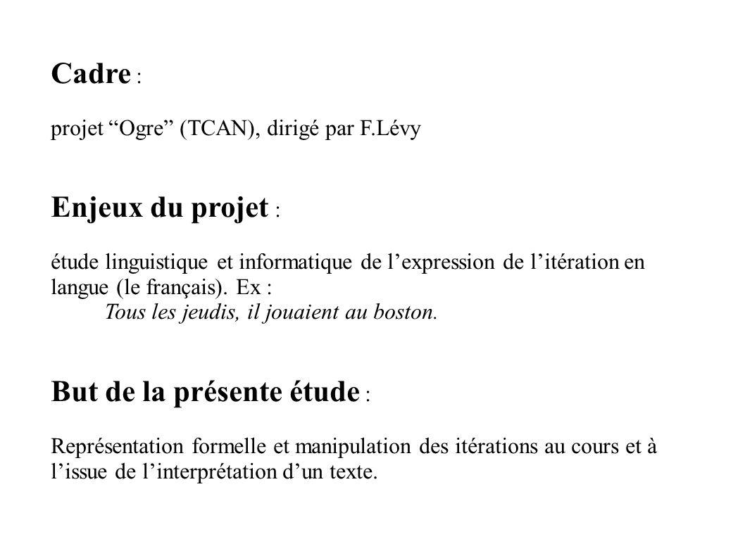 Cadre : projet Ogre (TCAN), dirigé par F.Lévy Enjeux du projet : étude linguistique et informatique de lexpression de litération en langue (le français).