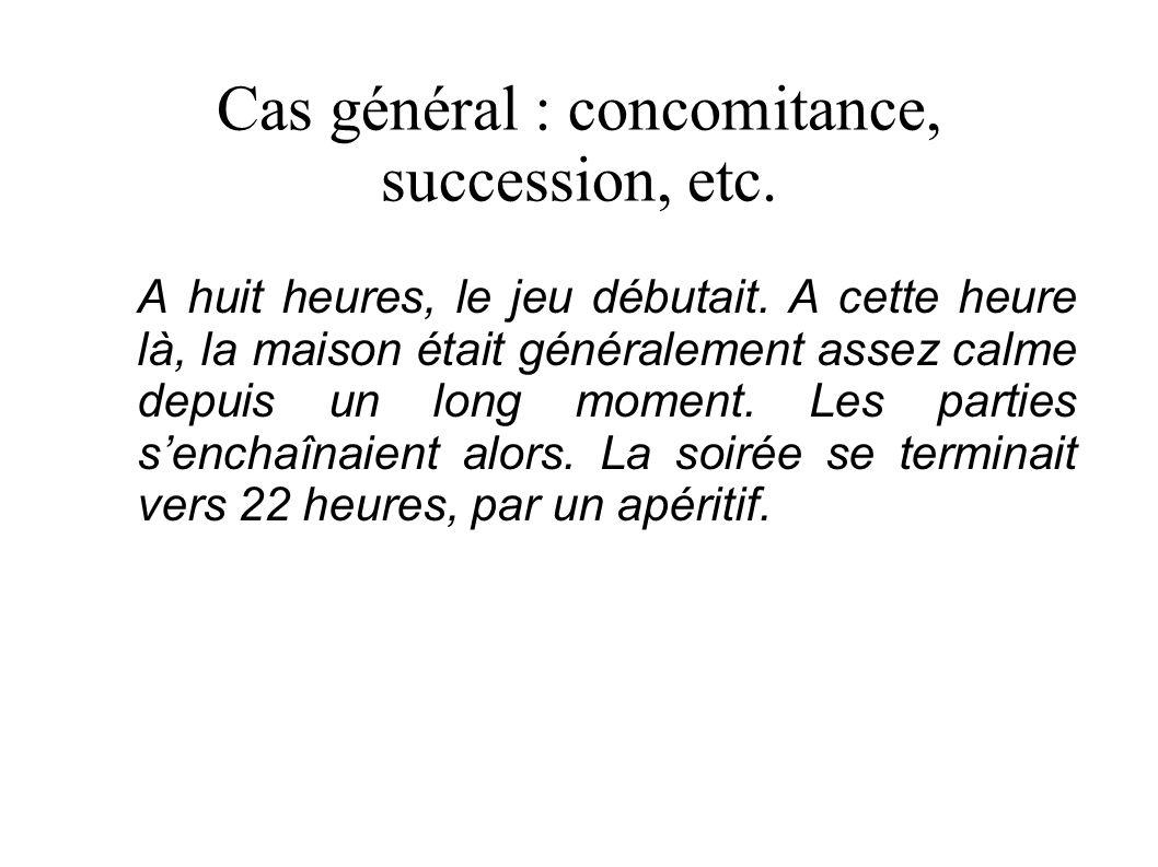 Cas général : concomitance, succession, etc. A huit heures, le jeu débutait.
