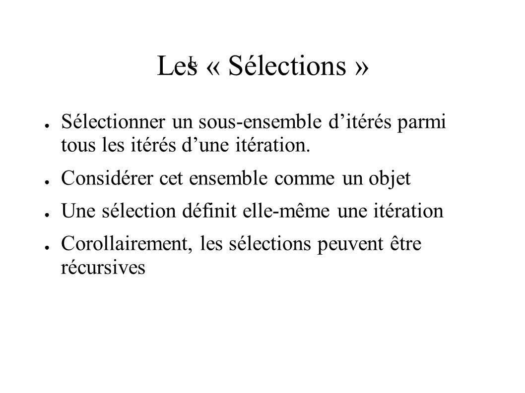 Les « Sélections » Sélectionner un sous-ensemble ditérés parmi tous les itérés dune itération.