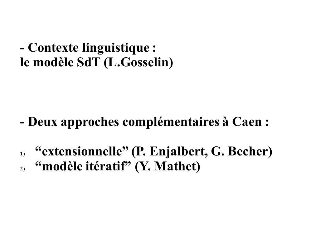 - Contexte linguistique : le modèle SdT (L.Gosselin) - Deux approches complémentaires à Caen : 1) extensionnelle (P.