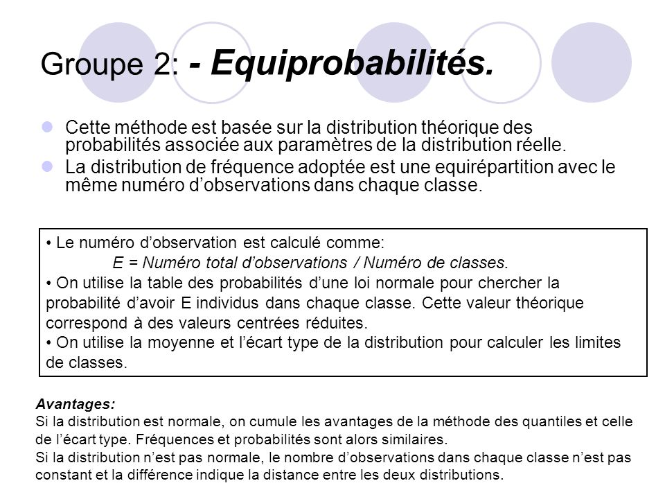 Groupe 2: - Equiprobabilités.