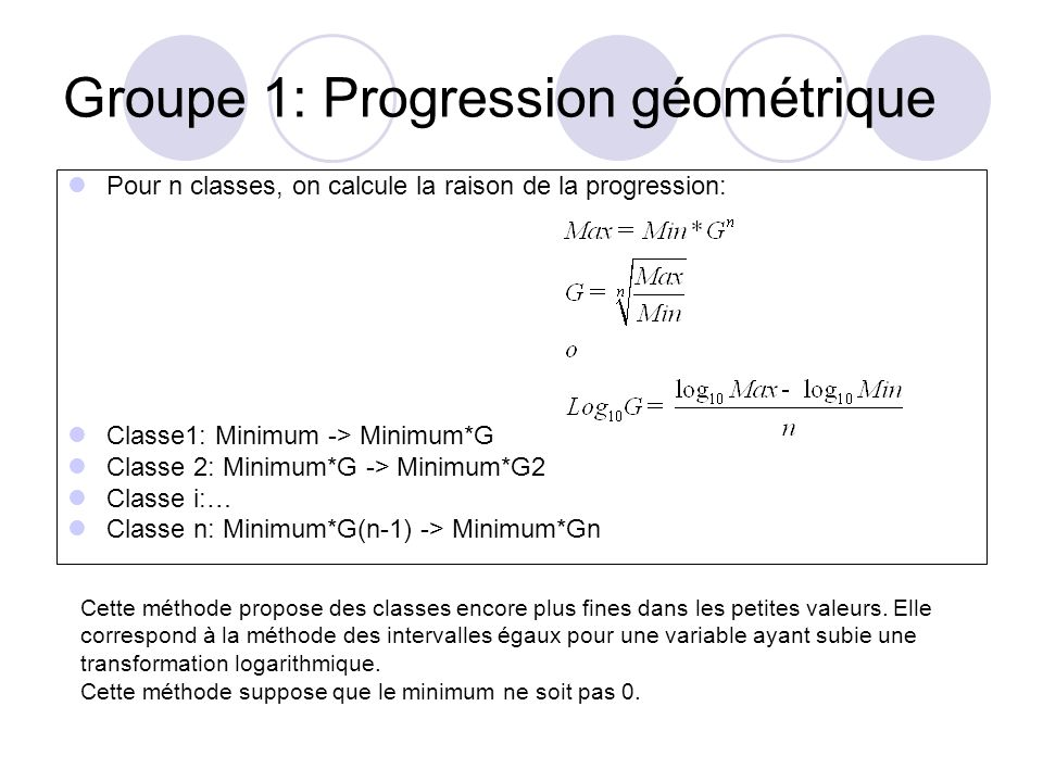 Groupe 1: Progression géométrique Pour n classes, on calcule la raison de la progression: Classe1: Minimum -> Minimum*G Classe 2: Minimum*G -> Minimum