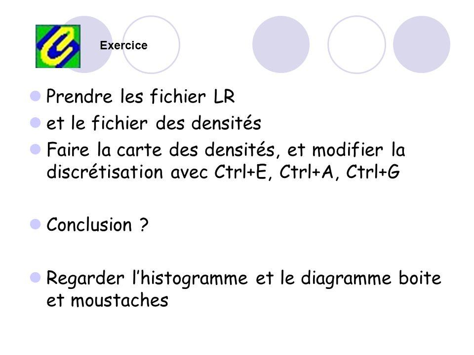 Prendre les fichier LR et le fichier des densités Faire la carte des densités, et modifier la discrétisation avec Ctrl+E, Ctrl+A, Ctrl+G Conclusion ?