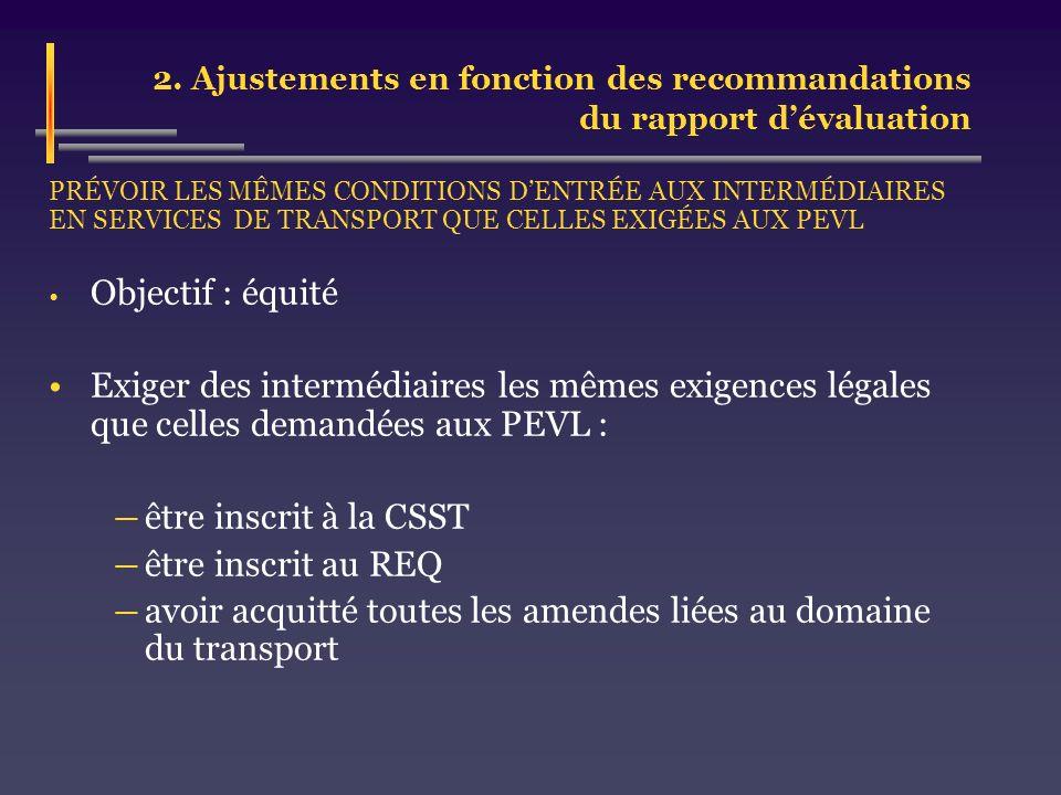 2. Ajustements en fonction des recommandations du rapport dévaluation PRÉVOIR LES MÊMES CONDITIONS DENTRÉE AUX INTERMÉDIAIRES EN SERVICES DE TRANSPORT