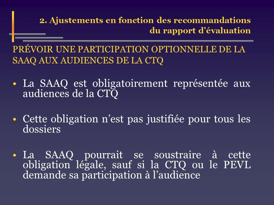 2. Ajustements en fonction des recommandations du rapport dévaluation PRÉVOIR UNE PARTICIPATION OPTIONNELLE DE LA SAAQ AUX AUDIENCES DE LA CTQ La SAAQ