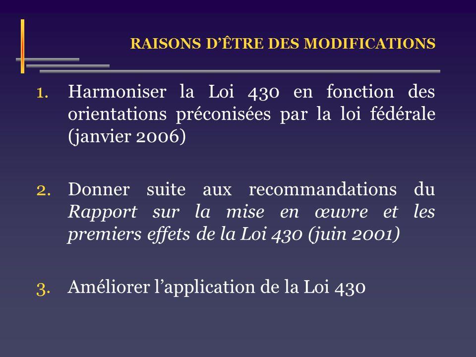 RAISONS DÊTRE DES MODIFICATIONS 1.Harmoniser la Loi 430 en fonction des orientations préconisées par la loi fédérale (janvier 2006) 2.Donner suite aux recommandations du Rapport sur la mise en œuvre et les premiers effets de la Loi 430 (juin 2001) 3.Améliorer lapplication de la Loi 430