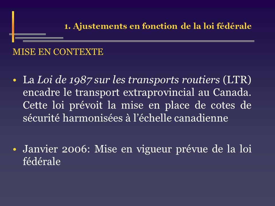 1. Ajustements en fonction de la loi fédérale MISE EN CONTEXTE La Loi de 1987 sur les transports routiers (LTR) encadre le transport extraprovincial a
