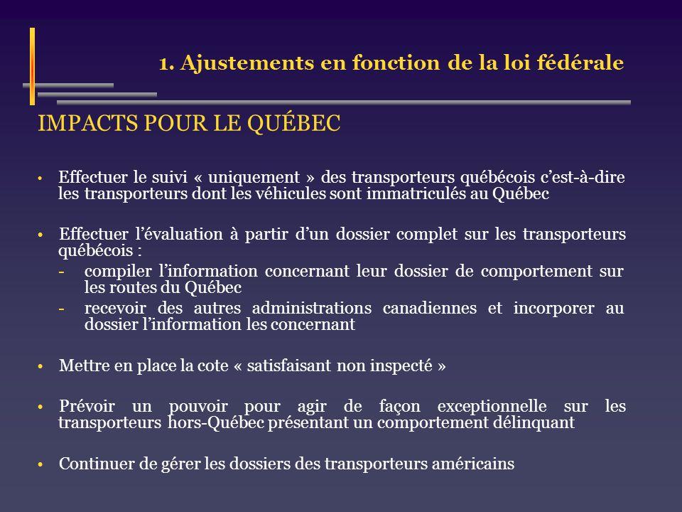 1. Ajustements en fonction de la loi fédérale IMPACTS POUR LE QUÉBEC Effectuer le suivi « uniquement » des transporteurs québécois cest-à-dire les tra
