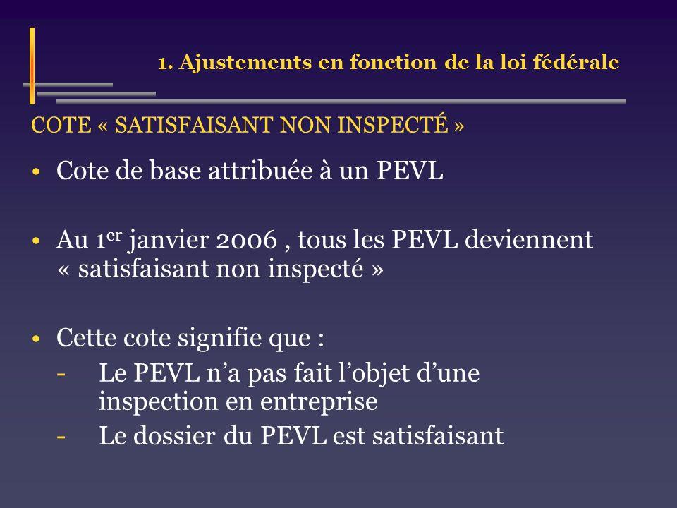 1. Ajustements en fonction de la loi fédérale COTE « SATISFAISANT NON INSPECTÉ » Cote de base attribuée à un PEVL Au 1 er janvier 2006, tous les PEVL